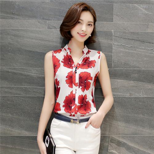 Women Blouses And Shirts Summer Korean Elegant Sleeveless Flower/Butterfly/Plaid Print Shirt-Blouses & Shirts-BF Fashion-red flower-S-EpicWorldStore.com
