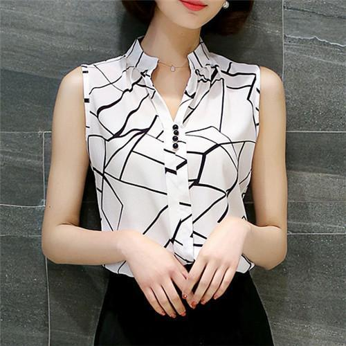 Women Blouses And Shirts Summer Korean Elegant Sleeveless Flower/Butterfly/Plaid Print Shirt-Blouses & Shirts-BF Fashion-white plaid-S-EpicWorldStore.com