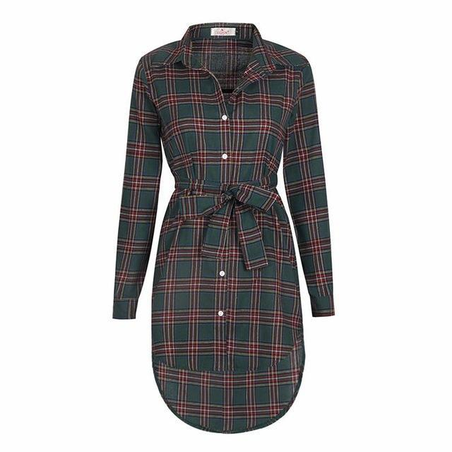 Women Blouses Long Sleeve Plaid Shirts Turn Down Collar Shirt Casual Tunic Feminine Irregular-Blouses & Shirts-Ladies Clothing Boutique-Green-S-EpicWorldStore.com