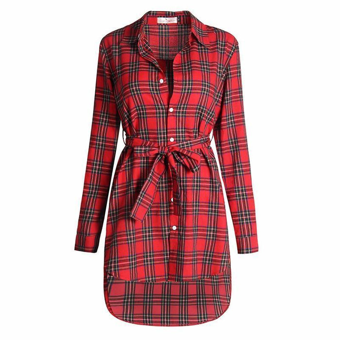 Women Blouses Long Sleeve Plaid Shirts Turn Down Collar Shirt Casual Tunic Feminine Irregular-Blouses & Shirts-Ladies Clothing Boutique-navy blue-S-EpicWorldStore.com