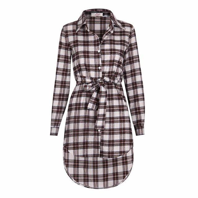Women Blouses Long Sleeve Plaid Shirts Turn Down Collar Shirt Casual Tunic Feminine Irregular-Blouses & Shirts-Ladies Clothing Boutique-White-S-EpicWorldStore.com