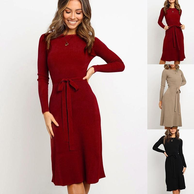 Women Bodycon Dress Sweater Knitted Autumn And Winter Dresses Plus Size Full Sleeve Office Lady-Dresses-Angedanlia Offical Store-Black-S-EpicWorldStore.com