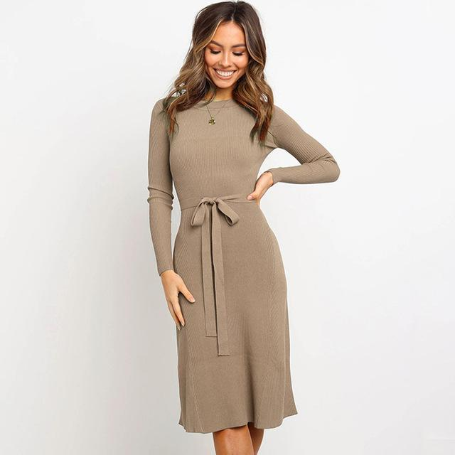Women Bodycon Dress Sweater Knitted Autumn And Winter Dresses Plus Size Full Sleeve Office Lady-Dresses-Angedanlia Offical Store-Khaki-S-EpicWorldStore.com
