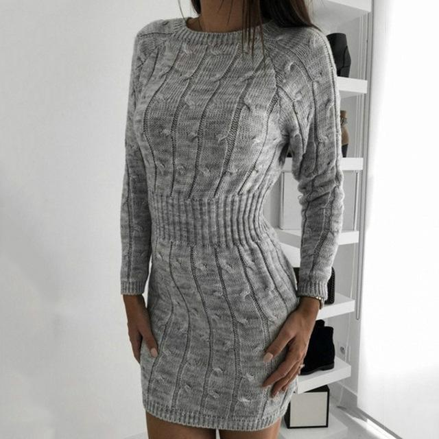 Women Bodycon Dresses Knitted Mini Dress Autumn Winter Vintage Ladies Slim Sweater Dress Long-Dresses-PYL Official Store-Gray-S-EpicWorldStore.com