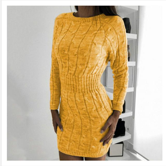 Women Bodycon Dresses Knitted Mini Dress Autumn Winter Vintage Ladies Slim Sweater Dress Long-Dresses-PYL Official Store-Yellow-S-EpicWorldStore.com