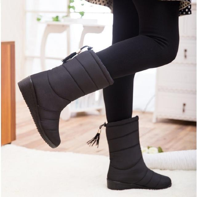7f975f5751c8 Women Boots Female Tassel Winter Ankle Boots Shoes Down Wedges Snow Boots  Ladies Shoes Woman-