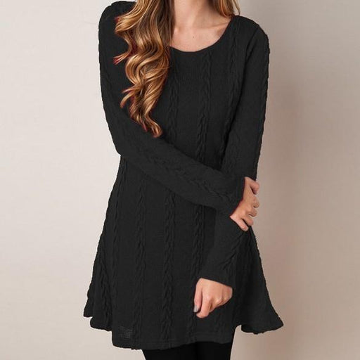 Women Causal Plus Size S-5Xl Short Sweater Dress Female Autumn Winter White Long Sleeve Loose-Dresses-Madame Vargue Store-black-S-EpicWorldStore.com