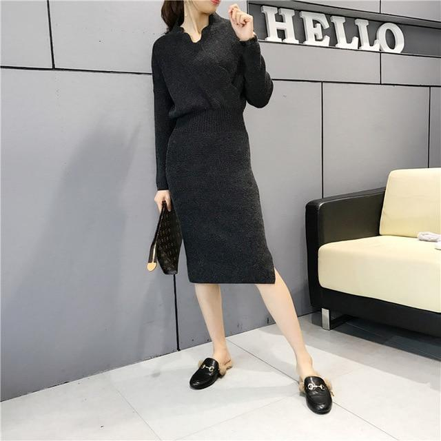 Women Fashion Cross V Neck Ribbed Knitted Mid Calf Sweater Dress Woman Winter Thick Long Sweaters-Dresses-NONSTOPPER Store-Black-One Size-EpicWorldStore.com