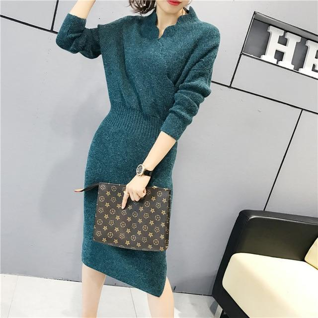 Women Fashion Cross V Neck Ribbed Knitted Mid Calf Sweater Dress Woman Winter Thick Long Sweaters-Dresses-NONSTOPPER Store-Blue-One Size-EpicWorldStore.com