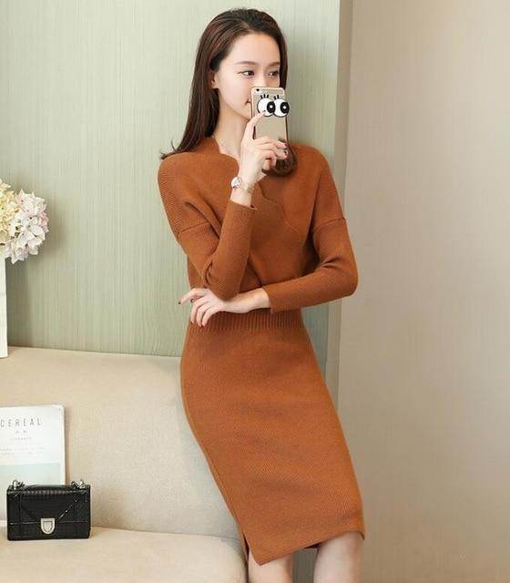 Women Fashion Cross V Neck Ribbed Knitted Mid Calf Sweater Dress Woman Winter Thick Long Sweaters-Dresses-NONSTOPPER Store-Camel-One Size-EpicWorldStore.com