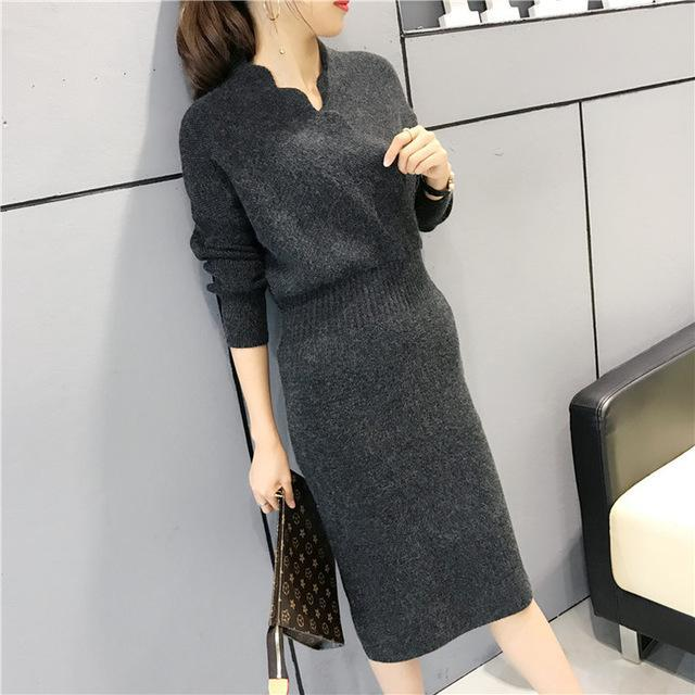 Women Fashion Cross V Neck Ribbed Knitted Mid Calf Sweater Dress Woman Winter Thick Long Sweaters-Dresses-NONSTOPPER Store-Gray-One Size-EpicWorldStore.com