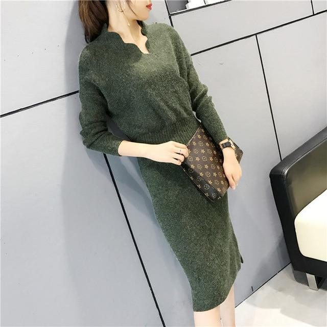 Women Fashion Cross V Neck Ribbed Knitted Mid Calf Sweater Dress Woman Winter Thick Long Sweaters-Dresses-NONSTOPPER Store-Green-One Size-EpicWorldStore.com