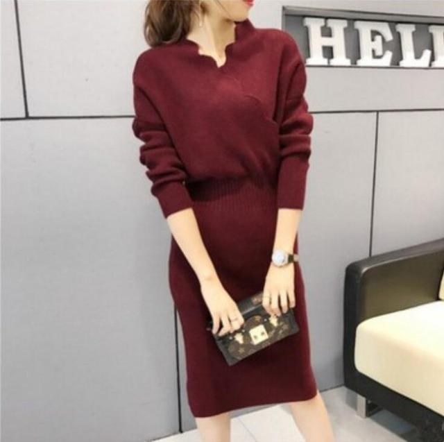 Women Fashion Cross V Neck Ribbed Knitted Mid Calf Sweater Dress Woman Winter Thick Long Sweaters-Dresses-NONSTOPPER Store-wine red-One Size-EpicWorldStore.com