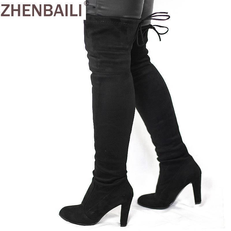 a3986f672e3d Women Faux Suede Thigh High Boots Over The Knee Boot Stretch Flock Stylish  Overknee High-