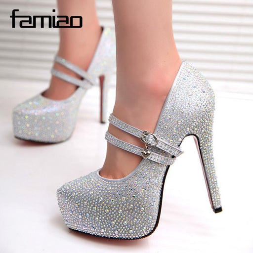 Women High Heels Prom Wedding Shoes Lady Crystal Platforms Silver Glitter Rhinestone Bridal-Women's Pumps-Shengshidanqing Store-silvery-4-EpicWorldStore.com
