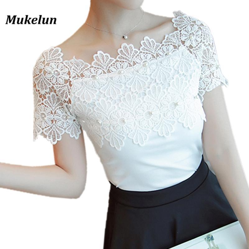 Women Lace Patchwork Blouse Shirt Casual Off Shoulder Top Stylish Short Sleeve White Blouse Ladies-Blouses & Shirts-Mukelun Store-Black-S-EpicWorldStore.com