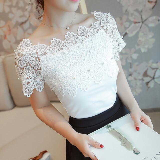 Women Lace Patchwork Blouse Shirt Casual Off Shoulder Top Stylish Short Sleeve White Blouse Ladies-Blouses & Shirts-Mukelun Store-White-S-EpicWorldStore.com