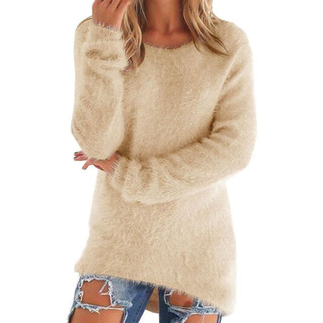 Women Long Sleeve Knitted Pullover Loose Sweater Jumper Tops Knitwear-Sweaters-Spring Dayday-beige-S-EpicWorldStore.com