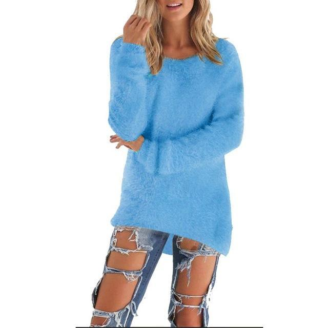 Women Long Sleeve Knitted Pullover Loose Sweater Jumper Tops Knitwear-Sweaters-Spring Dayday-Blue-S-EpicWorldStore.com