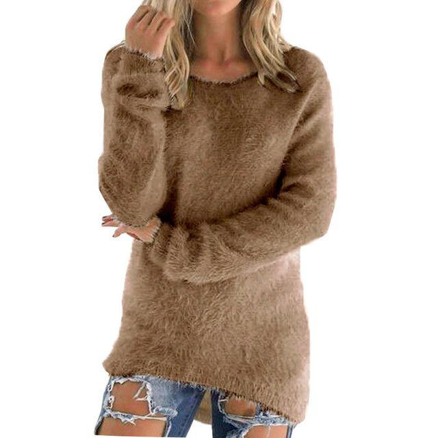 Women Long Sleeve Knitted Pullover Loose Sweater Jumper Tops Knitwear-Sweaters-Spring Dayday-coffee-S-EpicWorldStore.com