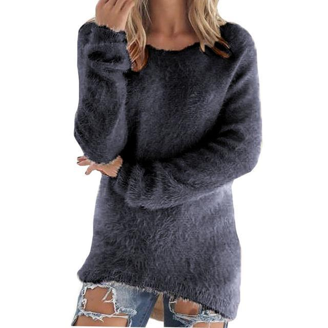 Women Long Sleeve Knitted Pullover Loose Sweater Jumper Tops Knitwear-Sweaters-Spring Dayday-grey-S-EpicWorldStore.com