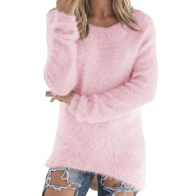 Women Long Sleeve Knitted Pullover Loose Sweater Jumper Tops Knitwear-Sweaters-Spring Dayday-pink-S-EpicWorldStore.com
