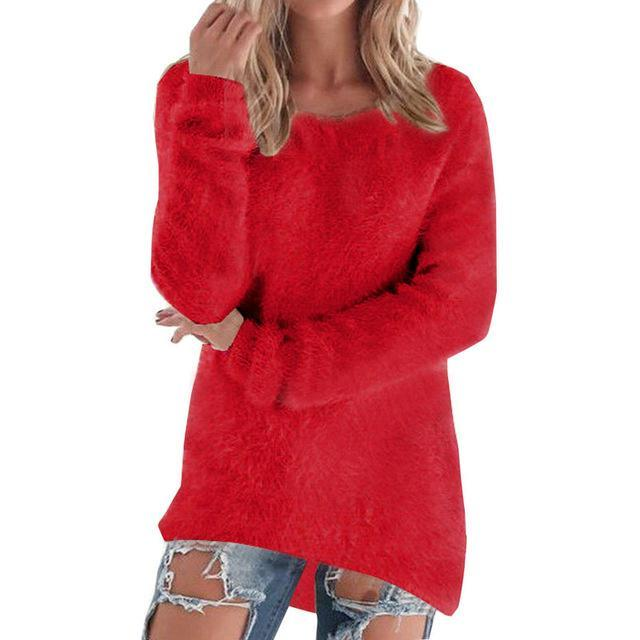 Women Long Sleeve Knitted Pullover Loose Sweater Jumper Tops Knitwear-Sweaters-Spring Dayday-red-S-EpicWorldStore.com