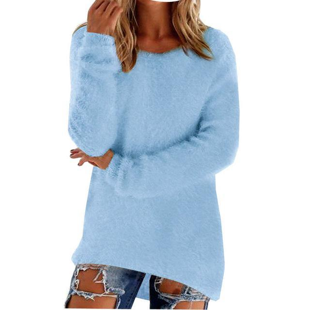 Women Long Sleeve Knitted Pullover Loose Sweater Jumper Tops Knitwear-Sweaters-Spring Dayday-Sky Blue-S-EpicWorldStore.com