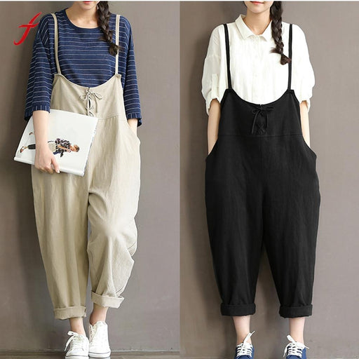 Women Loose Casual Baggy Jumpsuit Bib Pants Trousers Overall Harnes Pants Loose Jumpsuit Strap-Jumpsuits-What are words Store-Beige-M-EpicWorldStore.com