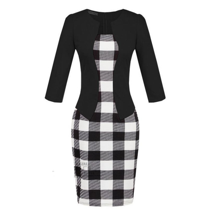 Women New Autumn Spring Style Faux Two Piece Elegant Plaid Long Sleeve Pencil Dresses-Dresses-CHSDCSI LJA Store-Houndstooth black-S-EpicWorldStore.com