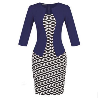 Women New Autumn Spring Style Faux Two Piece Elegant Plaid Long Sleeve Pencil Dresses-Dresses-CHSDCSI LJA Store-Houndstooth Navy-S-EpicWorldStore.com