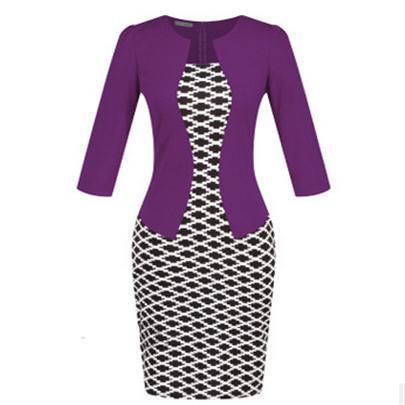 Women New Autumn Spring Style Faux Two Piece Elegant Plaid Long Sleeve Pencil Dresses-Dresses-CHSDCSI LJA Store-Houndstooth purple-S-EpicWorldStore.com