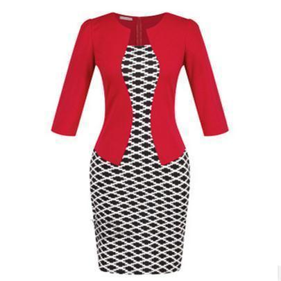 Women New Autumn Spring Style Faux Two Piece Elegant Plaid Long Sleeve Pencil Dresses-Dresses-CHSDCSI LJA Store-Houndstooth red-S-EpicWorldStore.com