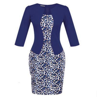 Women New Autumn Spring Style Faux Two Piece Elegant Plaid Long Sleeve Pencil Dresses-Dresses-CHSDCSI LJA Store-Leopard navy blue-S-EpicWorldStore.com