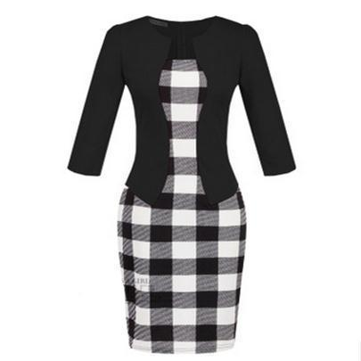Women New Autumn Spring Style Faux Two Piece Elegant Plaid Long Sleeve Pencil Dresses-Dresses-CHSDCSI LJA Store-S122 Black-S-EpicWorldStore.com