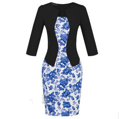 Women New Autumn Spring Style Faux Two Piece Elegant Plaid Long Sleeve Pencil Dresses-Dresses-CHSDCSI LJA Store-S122 Floral black-S-EpicWorldStore.com