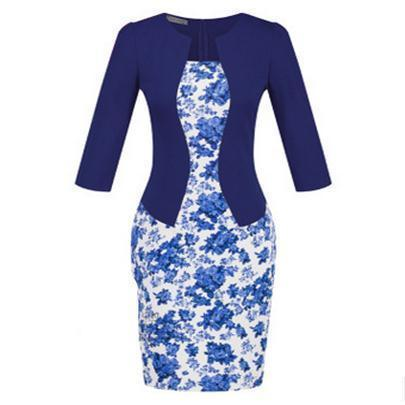 Women New Autumn Spring Style Faux Two Piece Elegant Plaid Long Sleeve Pencil Dresses-Dresses-CHSDCSI LJA Store-S122 Floral Navy-S-EpicWorldStore.com