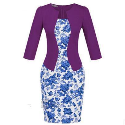 Women New Autumn Spring Style Faux Two Piece Elegant Plaid Long Sleeve Pencil Dresses-Dresses-CHSDCSI LJA Store-S122 Floral violet-S-EpicWorldStore.com