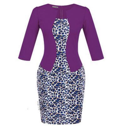 Women New Autumn Spring Style Faux Two Piece Elegant Plaid Long Sleeve Pencil Dresses-Dresses-CHSDCSI LJA Store-S122 Leopard purple-S-EpicWorldStore.com
