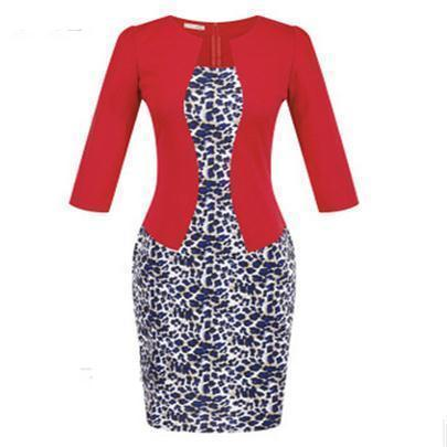 Women New Autumn Spring Style Faux Two Piece Elegant Plaid Long Sleeve Pencil Dresses-Dresses-CHSDCSI LJA Store-S122 Leopard red-S-EpicWorldStore.com