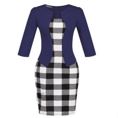 Women New Autumn Spring Style Faux Two Piece Elegant Plaid Long Sleeve Pencil Dresses-Dresses-CHSDCSI LJA Store-S122 Navy blue-S-EpicWorldStore.com