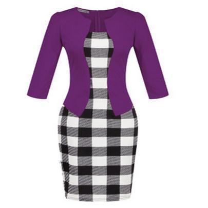 Women New Autumn Spring Style Faux Two Piece Elegant Plaid Long Sleeve Pencil Dresses-Dresses-CHSDCSI LJA Store-S122 Purple-S-EpicWorldStore.com