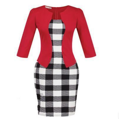 Women New Autumn Spring Style Faux Two Piece Elegant Plaid Long Sleeve Pencil Dresses-Dresses-CHSDCSI LJA Store-S122 Red-S-EpicWorldStore.com
