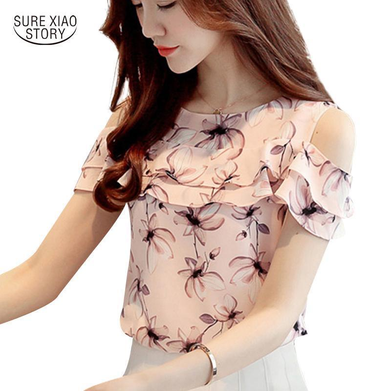 Women Off Shoulder Short Sleeve Blouses Print Floral Chiffon Shirts Casual Ladies Clothing-Blouses & Shirts-Annie store-Pink-S-EpicWorldStore.com