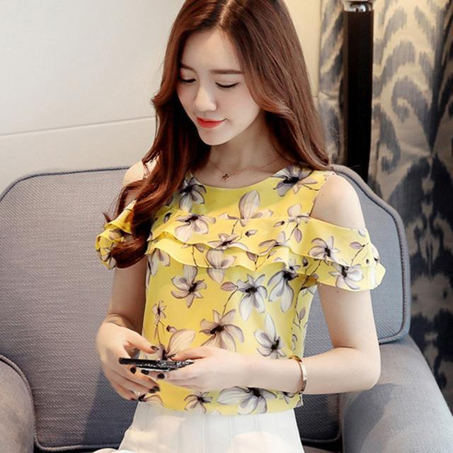 Women Off Shoulder Short Sleeve Blouses Print Floral Chiffon Shirts Casual Ladies Clothing-Blouses & Shirts-Annie store-Yellow-S-EpicWorldStore.com