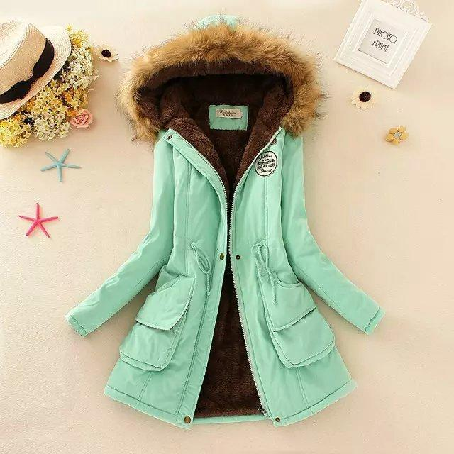 Women Parka Autumn Winter Warm Jackets Women Fur Collar Coats Long Parkas Hoodies Office-Jackets & Coats-HN Co.,Ltd. Store-Aqua-S-EpicWorldStore.com