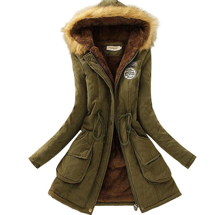 Women Parka Autumn Winter Warm Jackets Women Fur Collar Coats Long Parkas Hoodies Office-Jackets & Coats-HN Co.,Ltd. Store-Black-S-EpicWorldStore.com