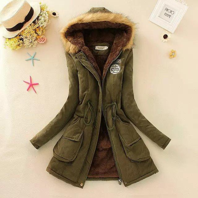 Women Parka Autumn Winter Warm Jackets Women Fur Collar Coats Long Parkas Hoodies Office-Jackets & Coats-HN Co.,Ltd. Store-Green-S-EpicWorldStore.com