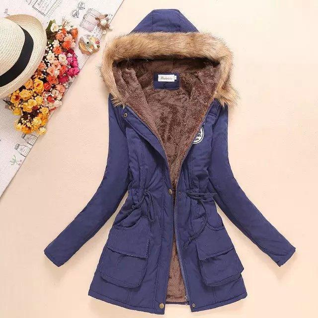 Women Parka Autumn Winter Warm Jackets Women Fur Collar Coats Long Parkas Hoodies Office-Jackets & Coats-HN Co.,Ltd. Store-Navy-S-EpicWorldStore.com