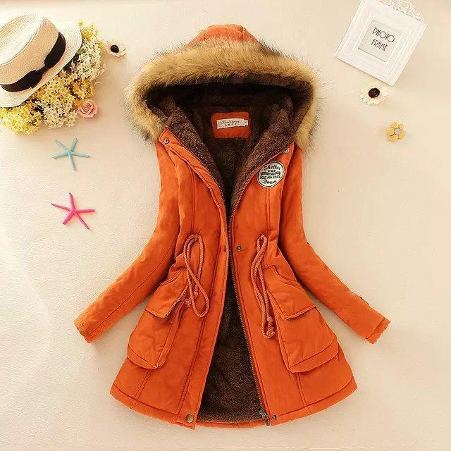 Women Parka Autumn Winter Warm Jackets Women Fur Collar Coats Long Parkas Hoodies Office-Jackets & Coats-HN Co.,Ltd. Store-Orange-S-EpicWorldStore.com